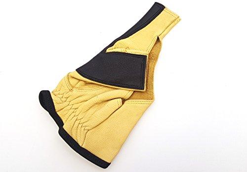Calidad original de ciervo Guantes de arco guantes de disparo. Arco Largo Guantes. Lazo mano Protector. Mano Derecha, color , tamaño small