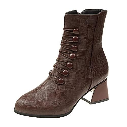 Binggong Botas de tacón alto para mujer, para invierno, otoño, con tacón de bloque y cremallera, botines de caña corta para mujer, botines Chelsea, marrón, 41 EU