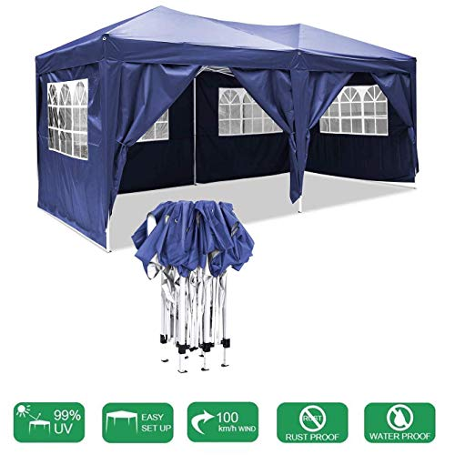 MYPNB Gazebo, 3 X 6m (9.8 X 19.6ft) Waterproof Pop-up Event Shelter Outdoor Event Shelter with Movable Side Wall for Garden Wedding Parties Four Seasons Pavilion
