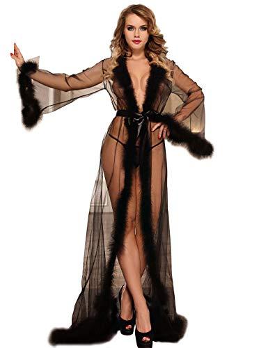 ohyeahlady Women Plus Size Lace Sheer Long Lingerie Robe with Fur Trim Nightgown Bathrobe Sleepwear Black 3XL