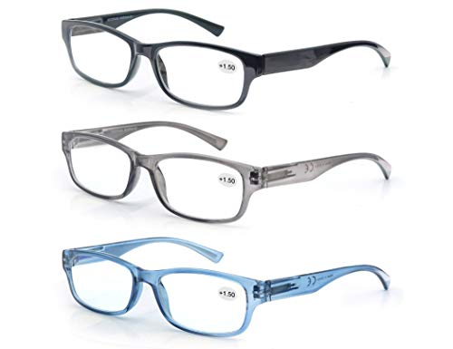 3 Pack Lesebrille 3.5 Herren/Damen,Gute Brillen,Hochwertig,Rechteckig,Komfortabel,Super Lesehilfe,fur Manner und Frauen,Schwarz-Blau-Grau