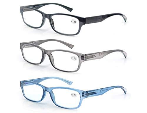 MODFANS Confezione da 3 Occhiali da Lettura 1.25 Presbiopia Uomo Donna, Lente Trasparente Montatura Rettangolare - Cerniera a Molla - Leggera Classico Comodo Nero-Grigio-Blu