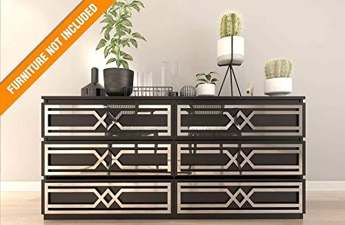 Evora Laubsägearbeit | Geeignet für IKEA Malm | Hochwertige Überlagerung | Farbe: Weißes PVC/Repaintable, goldener Spiegel, silberner Spiegel oder gebürstetes Silber