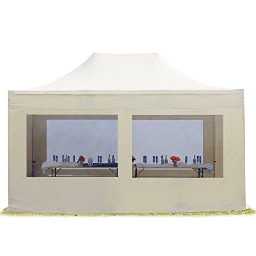 TOOLPORT Faltpavillon Pavillon 3x4,5 m mit Panoramafenstern edles Polyester Wasserdicht PROFIZELT24 Partyzelt Creme