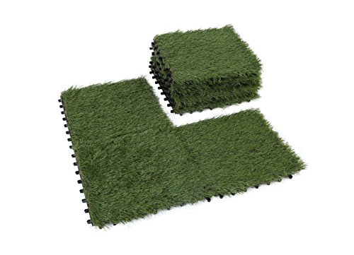 GOLDEN MOON Grass Tile Series PP Interlocking Grass Deck Tiles, Artificial Anti-wear Turf Tiles, 1'x1' (9 Pieces)