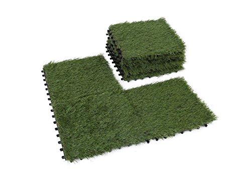 Golden Moon Artificial Grass Turf Tile Interlocking Self-draining Mat, 1x1 ft, 1.5 in Pile Height, 9 Pack