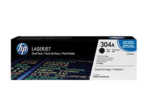 Original Toner passend für HP Color LaserJet CP 2025 HP 304A CC530AD - 2x Premium Drucker-Kartusche - Schwarz - 2 x 3.500 Seiten