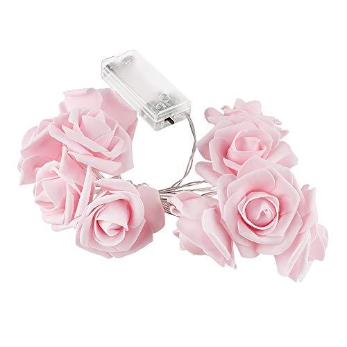 LED-Lichterkette | Rosen | 10 LED-Lichter | warmweiß | Mit Timer-Funktion (6 Stunden AN | 18 Stunden AUS) (rosa)