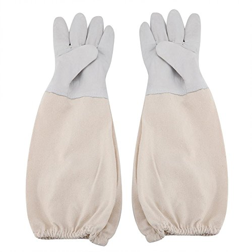 TOPINCN Beekeeping Protective Gloves Wear-Resistant Durable Long Canvas Sleeve Gloves with Elastic Cuff Beekeepers Working Tool Equipment(XXL)