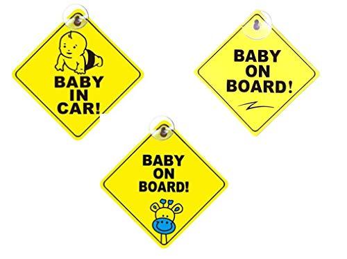 Rmeet Baby on Board Auto Adesivi,Adesivo per Bambino a Bordo 3 Pack Baby on Board Sign per Bambini per Macchina con Ventosa Auto Segnaletica di Sicurezza 5 * 5 Pollici Giallo