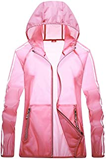 Women's Sunscreen Jacket, Summer Softshell Coat Couple Breathable Windbreaker for Running Cycling Fishing and Travelling,Pink,4XL
