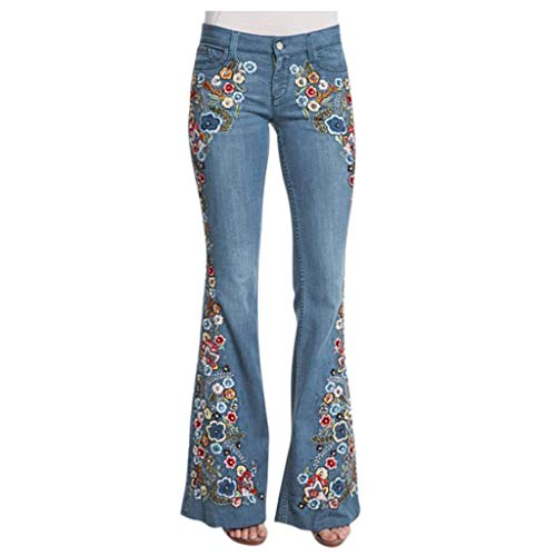 Lulupi Jeans da donna eleganti da donna, alla moda, stile retrò, skinny slim ricamati, pantaloni da notte con gamba larga, casual, per feste 70 C-azzurro XL