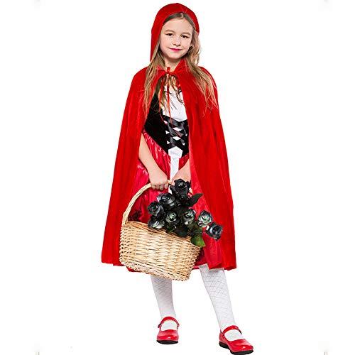 BERTHACC Mädchen Karneval Halloween Kostüm Zombie Rotkäppchen,Mit Umhang Kleider Für Halloween Fest Rollenspiel Kostüm Sexy Cosplay Kleid Karneval Verkleidung Party Nachtclub Kostüm,Rot,L