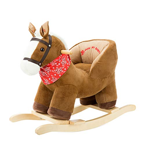 Rocking horse Shake Baby Trojan Children Wood Dual-use Rocking Chair Fashion Home (Color : Brown)