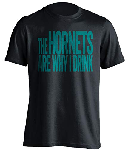 The Hornets are Why I Drink – Divertida camiseta autoprodigante, versión verde azulado y morado – Death Ray Prints