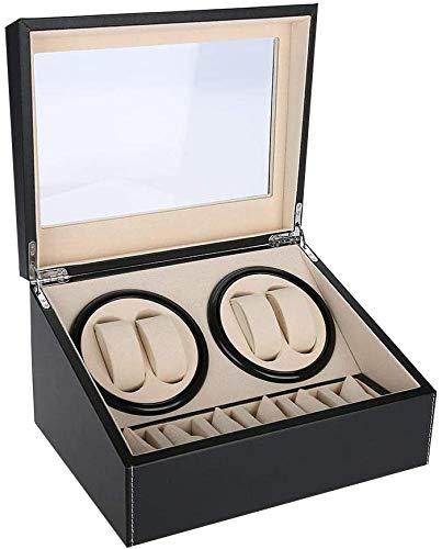 Uhrenbeweger luxuriöser automatischer Uhrenwender Uhrenvitrine für Automatikuhren, Watch Winder für alle Automatikuhren Mechanischen Uhren Uhrenbeweger mit 6 Grids Uhrenaufbewahrungskoffer(Schwarz)