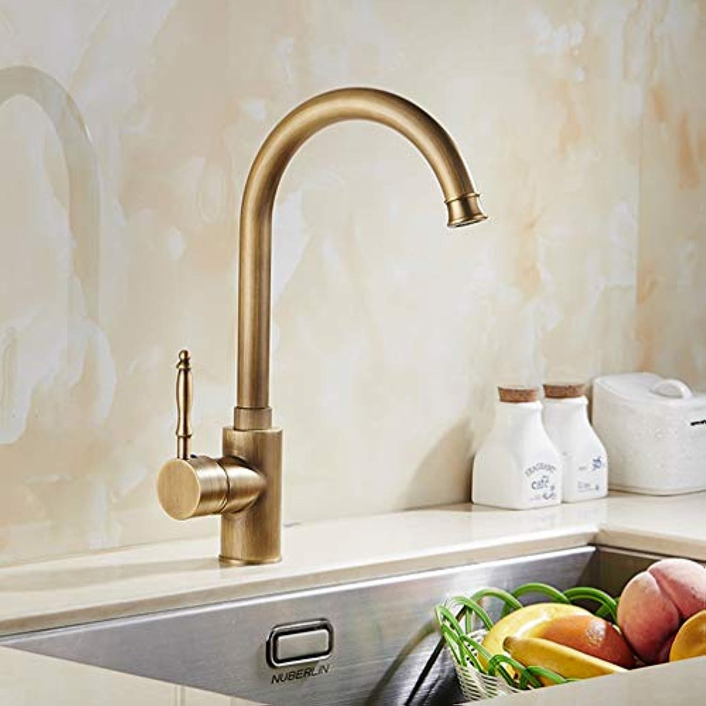 FZHLR Heie Und Kalte Badezimmer Aufstockung Antique Kitchen Sink-Hahn-Messing & Porzellan-Bassin-Hahn 360 Schwenker-Mischer-Hahn, Antike Bronze 1