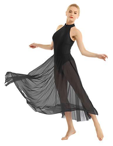 inhzoy Vestido Elegante de Baile Lírico para Mujer Body Maillot de Ballet Danza Falda Larga Leotardo de Gimnasia Patinaje Artístico Traje de Bailarina