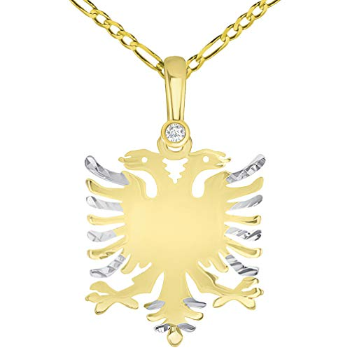 Solid 14k Yellow Gold Cubic-Zirconia Double-Headed Eagle National Symbol of Albania Pendant Necklace with Figaro Chain, 16'