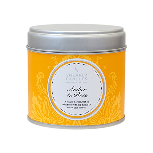 Shearer Candles Amber and Rose Large Scented Silver Tin Candle – White