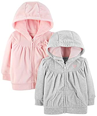 Simple Joys by Carter's Girls' 2-Pack Fleece Full Zip Hoodies, Light Gray/Pink, 18 Months