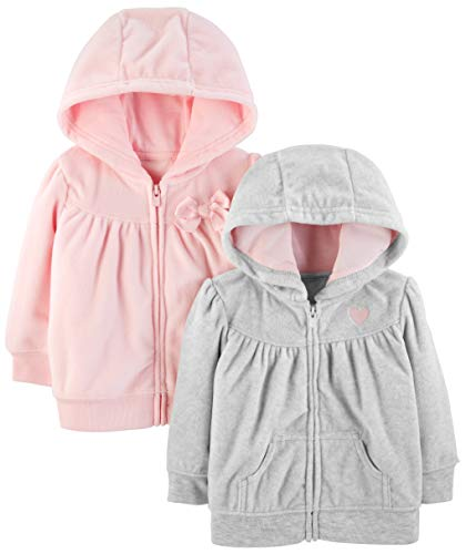 Simple Joys by Carter's - Confezione da 2 felpe con cappuccio e zip intera ,Light Gray/Pink ,12 Months