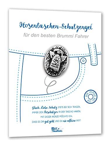 ART + emotions Hosentaschen Schutzengel für den besten Brummi Fahrer - Münze ist 925 versilbert - Geschenkidee Glück Münze Metall Silber Glück bringen personalisiert