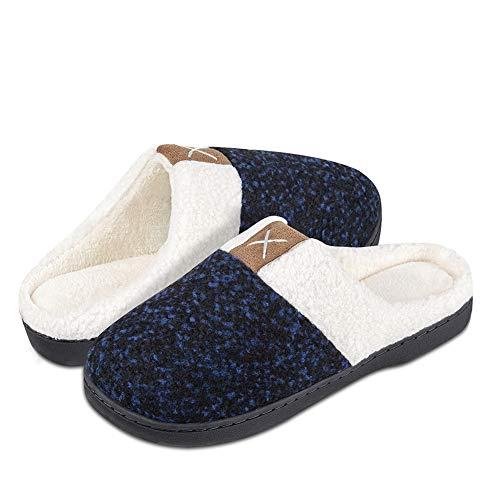 IceUnicorn Winter Hausschuhe Herren Damen Memory Foam Plüsch Wärme Home rutschfeste Slippers wollähnliche für Drinnen und Draußen(Blau, 42/43EU)