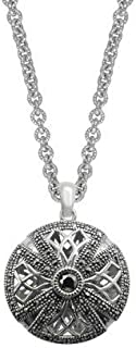 Aura by TJM 925 Sterling Silver 0.49 cttw Facet & Pyramid-cut Marcasite Pendant in 18""