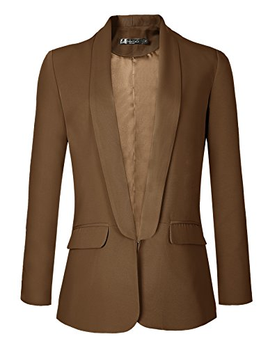 Urban CoCo Women's Office Blazer Jacket Open Front (S, Camel)