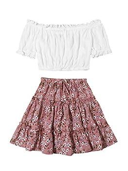 Floerns Women s 2 Piece Short Sleeve Off Shoulder Crop Top with Floral Skirt Set Multi-4 M