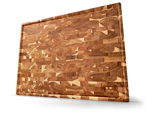 SUPER EXTRA LARGE ACACIA - Unique Design with big juice collecting groove! The last chopping board you need to buy for all your cooking needs - HUGE Working area! 22 x 16 inches and 1.5 inches thick.