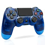 PS4 Wireless Controller - Compatible for PS3/Pro/Slim,Playstation 4 Game Controller, Built-in Speaker & Stereo Headset Multi-touch Pad,Blue Transparent