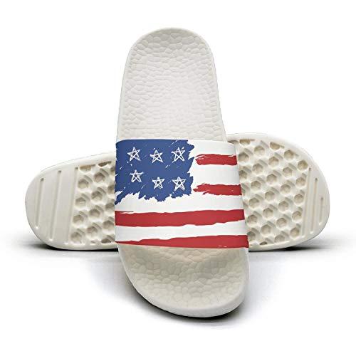 Man Best Slipper Hand Drawn American Flag White Comfort Open Toe Flat Sports Slide Sandal