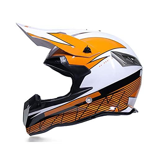 Casco de Motocross MTB Enduro, Casco de Motocicleta Todoterreno para niños, Casco de Rally para Hombres y Mujeres con Gafas, máscara, Guantes, Casco de Choque para Bicicleta de Cross Junior