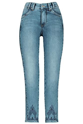 GINA LAURA Damen Jeans Julia, Lochstickerei, schmale 5-Pocket-Form Blue Denim 38 748358 92-38