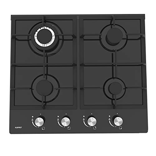 24' Built-in Gas Cooktop - KUPPET GH604A Stove with 4 Booster Burners Smooth Surface Black Tempered...