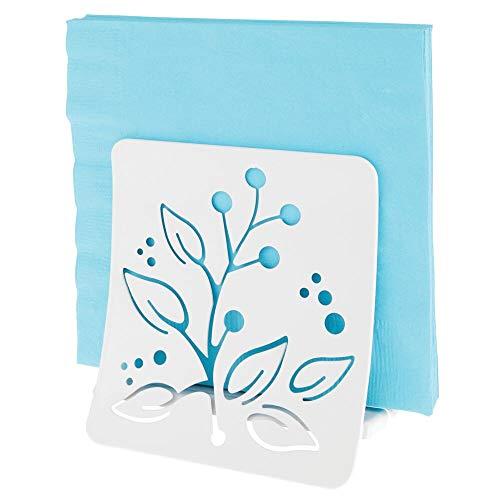 mDesign Elegante servilletero de mesa – Moderno y decorativo soporte para servilletas para mesas o encimeras - Dispensador de servilletas de metal – blanco