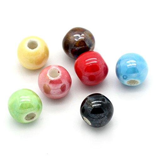 SODIAL(R) 50 pz gioielli e accessori 50 misti perline di ceramica turno 6 mm Dia.