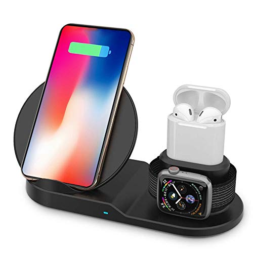 MMOBIEL 3 in 1 Draadloze QI Oplaad Station Oplader Compatibel met iPhone/Apple Watch/Airpods