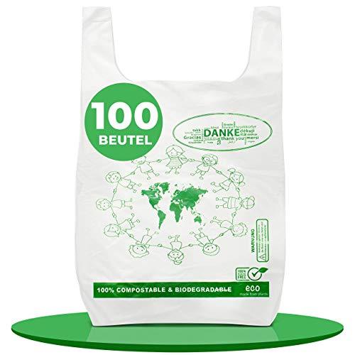Saco D 100 bolsas biodegradables y compostables para camisas, camisetas, bolsas de fruta, 100% compostables y biodegradables, de almidón de maíz