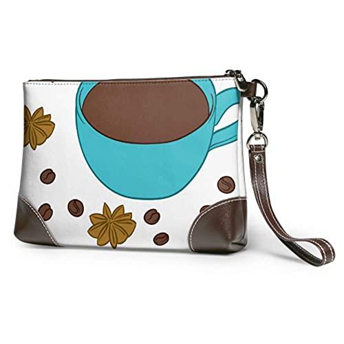 Yaxinduobao Bolso de mano de cuero suave a prueba de agua Taza de bebida caliente con bolso de mano de cuero de café con cremallera para mujeres y niñas