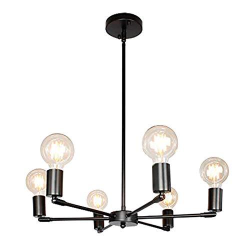 HTZ-M Lámpara De Techo Moderna, Lámpara Colgante De Metal LED con Candelabro De Cabeza Universal De 6 Luces para Interiores para Dormitorio Sala De Estar Comedor Bar Dorado