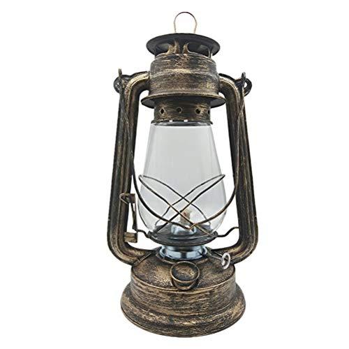 Uonlytech Retro Petroleumlampe Nostalgisches Eisen Tragbare Hängende Laterne Camping Licht für Garten Im Freien (Bronze)