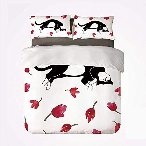 Yoyon Juego de Funda nórdica Juego de Cama Moderno y cómodo de 3 Camas, Lindo Gatito durmiendo rodeado de Tulipanes Gato Animal Mascota Encantadora Criatura Estampada para Hotel