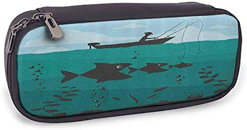 KLKLK Zippered Pen Case Stationery Bag Fishing Decor Single Man in Boat Luring with Bobbins Nautical Marine Sea Nature Funky Image Smooth Surface Blue Teal