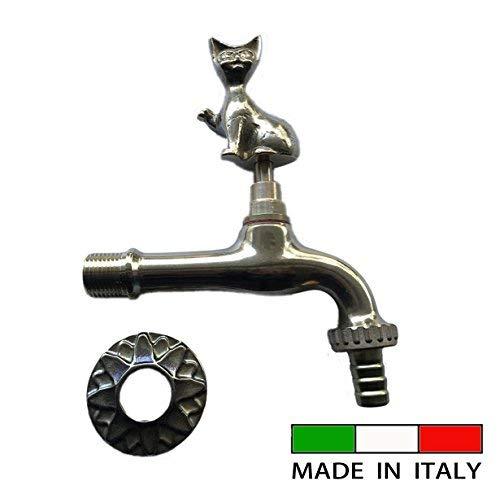 """K43-761 Gartenhahn Auslaufventil Auslaufhahn, Tiermotiv Katze, messing, 1/2"""", ursprünglich aus Italien"""