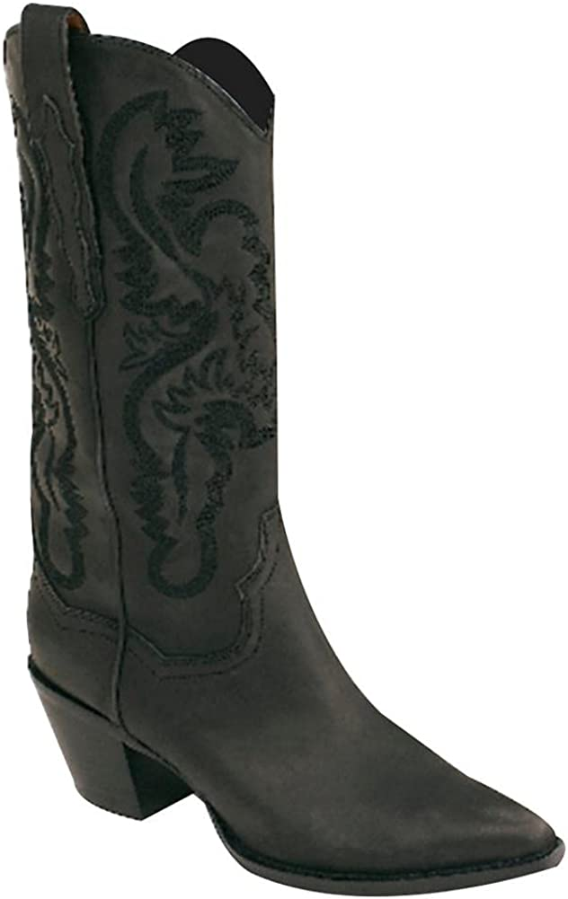 Mikarka Floral Stitched Cowboy Boots for Women Pointed Toe Low Chunky Heel Embroidered Rodeo Western Mid Calf Boots
