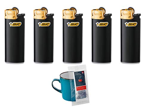 BIC Feuerzeug Reibrad Mini J25, schwarz/Gold (5 Stück)
