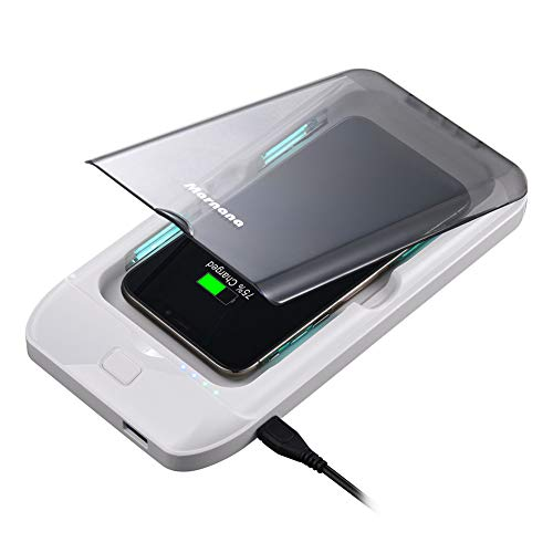 Cell Phone Cleaner, Marnana Portable Cell Phone Cleaner Case with Wireless Charger & USB Charger, Multi-Use Smartphone Cleaner Box for iPhone Android Mobile Phone Jewelry Keys - White